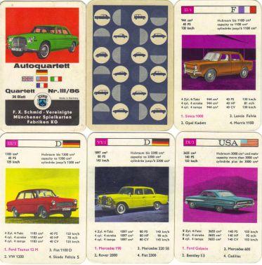 Das erste Autoquartett dieses Namens von FX Schmid München mit dem Rover auf dem Titel und 36 kolorierten Bildern - eine vintage-Rarität für Sammler