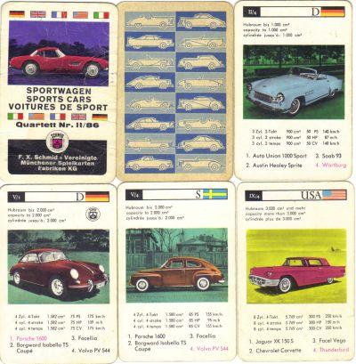Das erste und seltenste Autoquartett von FX Schmid ist Sportwagen II/86 von 1961 mit BMW 507, Borgward, Buckel-Volvo PV 544, Wartburg und Porsche 1600.