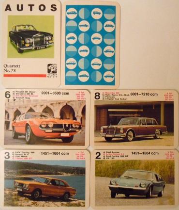 Das seltene Autos-Quartett von Tiger ist eine Version von Piatnik 292 mit Bildern im Querformat
