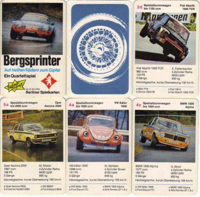 Das Bergsprinter-Quartettspiel von Berliner Spielkarten Nr. 6316760 zeigt Bergrennwagen wie Renault Alpine, Steyr-Puch 650 TR, NSU TTS, Fiat Abarth 1000 TC, Irmscher Kadett 2000 und Sauber C2B mit kurzer Bergübersetzung