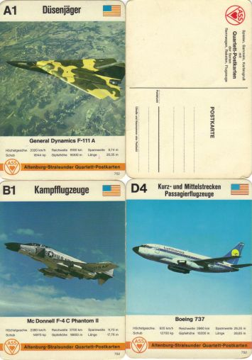 Postkarten-Flugzeugquartett von ASS mit Nummer 752 und DIN-A6-Format