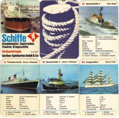 Berliner Spielkarten Schiffsquartett Tanker Frachter, Kreuzfahrtschiff, Hamburger Hafen