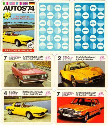 Ein altes Autoquartett für Quartettsammler von Piatnik: Autos 74 mit Fiat X 1/9.