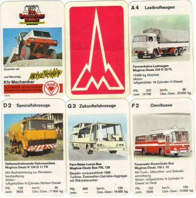Das Magirus-Deutz-Quartett von ASS enthält Lastkraftwagen, Muldenkipper und Autobusse.