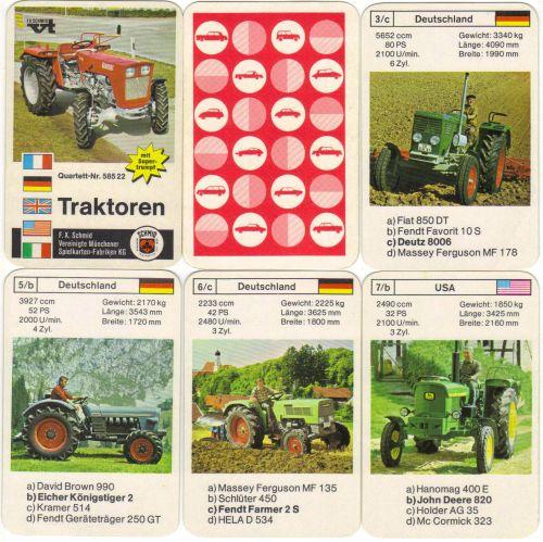 Traktoren-Quartett mit roter Rückseite von F.X. schmid