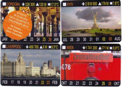 Diese Geo-Quartett ist ein Quartettkalender mit 52 Karten mit den Städten Europas