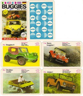 Dieses schöne Buggy-Autoquartett enthält Rennbuggies, VW Buggy, Karman-Umbauten, Baja-California-Buggies und einige Jeeps und Geländeautos