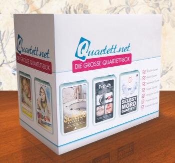 Die große Quartett-Box mit sieben Kartenspielen (inklusive Hipsterquartett) von quartett.net ist der ultimative Partyspaß!