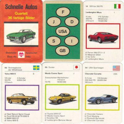 Das alte Autoquartett Schnelle Autos von Bielefelder Spielkarten / Joker mit dem Iso Grifo kennen Quartettsammler in vielen Varianten.