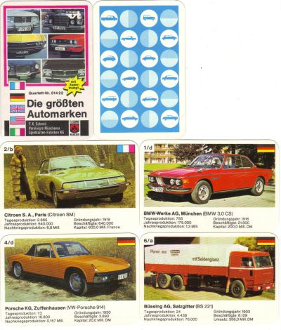 Das rare Autoquartett Die größten Automarken von F.X.Schmid mit 24 Karten vergleicht Autohersteller wie General Motos, Opel, VW, Lancia und Simca-Chrysler hinsichtlich Produktion und Kapital.