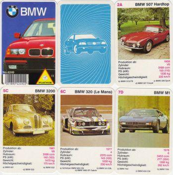 Das erste BMW-Autoquartett von Piatnik enthält BMW 507 (Goetz), BMW 503 Barockengel, BMW Art Cars, BMW M1 Procar und viele mehr.