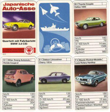 Das alte Autoquartett Japanische Auto-Asse mit Fahrbericht enthält Japan-Klassiker von Datun, Toyota, Honda, Mazda und mehr.
