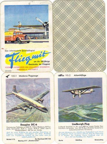 Flieg mit von Altenburg-Stralsunder Spielkarten (ASS) Nr. 623 ist das Interessante Flugzeug-Quartett der 50er-Jahre.