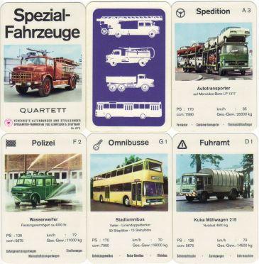 Das Spezialfahrzeuge-Quartett von ASS 672 zeigt schöne alte Feuerwehren, Polizeiautos, Lastwagen und Busse auf 36 Quartett-Spielkarten.
