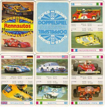 Das Rennwagen-Doppelspiel von FX Schmid mit der Nr. 62522 hat 28 Karten, also insgesamt 65 Rennwagen, darunter viele CanAm-Rennautos, Prototypen, IndyCar-Rennwagen, Renntourenwagen, Le-Mans-Sieger.