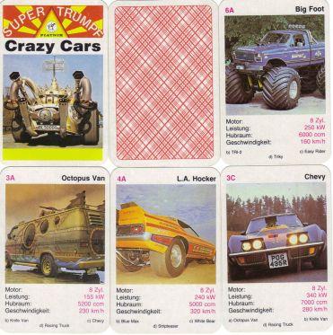 Cracy Cars der Wiener Spielkarten-Firma Piatnik ist ein altes Quartett mit Dragstern, Hot-Rods, Showcars, Filmautos und Vans im Airbrush-Design.