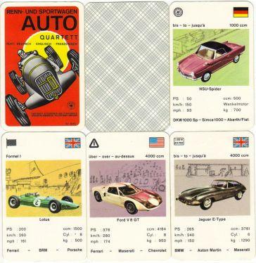 Das historische Renn- und Sportwagen Auto-Quartett Nr. 645 von Altenburg-Stralsunder Spielkarten enthält 36 Karten, etwa Jaguar E-Type, NSU Wankel-Spider, Ford GT 40, Austin Healey und Lotus Formel 1.