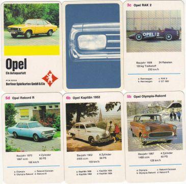 Das Opel-Quartett von Berliner Spielkarten zeigt den Opel Manta A sowie Opel Rekord, Opel Commodore GS/E, Opel RAK 2 und viele andere Opel-Klassiker mit dem Blitz aus Rüsselsheim.
