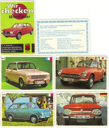"""Das FX Schmid Autoquartett """"Wir checken Miniflitzer"""" zeigt Kleinwagen auf 24 Karten, etwa Fiat 500, Autobianchi A112, NSU TT, Honda S 800 und Alfa Sud."""
