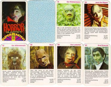 Das Horror-Quartett von F.X. Schmid ist ein Super-Mini-Quartett mit Spuk-Wesen, Horrorgestalten und Monstern in Latex-Gummi-Masken etwa Graf Dracula, Werwolf, Der Unsichtbare, King Kong.