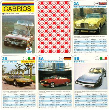 Das Autoquartett von Schmidt Spiele mit der Nummer 6318332 enthält Cabrios, Sportwagen und Coupés, Rückseite mit Smileys