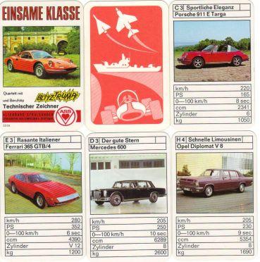 Einsame Klasse ist das ASS-Autoquartett mit Blitztrumpf und Berufstipp mit Ferrari Dino 246, Ferrari GTB/4, Mercedes 600 und anderen Vintage Cars.