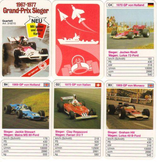 Das ASS-Rennautoquartett Grandprix-Sieger enthält gelbe und rote Karte sowie 32 Formel-1-Fahrer wie Jochen Rindt, Graham Hill, Jackie Stewart und Niki Lauda.