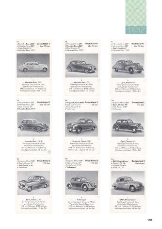 Historisches Autoquartett in der Sammler-Liste von Klaus Dünker