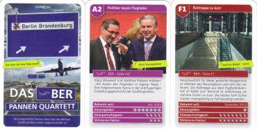 Das BER-Pannen-Flughafen-Quartett von Quartett.net zeigt Stümperhaftigkeit und verschwendete Steuergelder durch Wowi & Co. auf 40 lustigen Quartettkarten