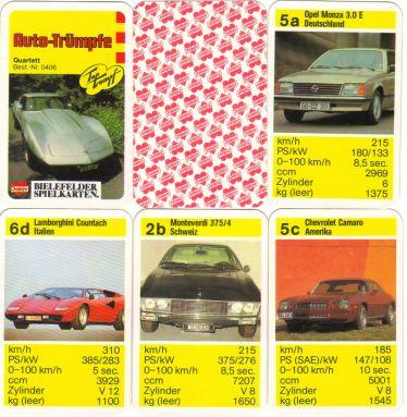 Das Bielefelder-Spielkarten/Joker-Autoquartett Auto-Trümpfe der gelben Serie hat 24 Karten und zeigt den Chevrolet Corvette sowie diverse Monteverdi.