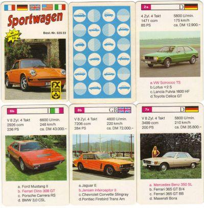 Das Autoquartett Sportwagen von FX Schmid München mit der Nummer 52522 zeigt Porsche 911 in orange, Jensen Interceptor, Mercedes 350 SL, VW Scirocco und weitere 70er-Jahre Youngtimer.