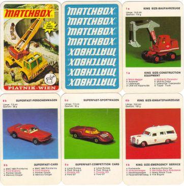 Das Matchbox-Autoquartett von Piatnik enthält bunte Spielzeugautos bzw. Modellautos wie Superfast, Kingsize und Auto-Veteranen.