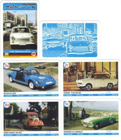 Das 4Trümpfe-Quartett Autos der DDR zeigt Trabi, Wartburg & Co. und ist damit das perfekte Autoquartett zu 25 Jahre Mauerfall und bald Deutsche Einheit.