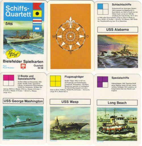 Im Schiffs-Quartett von Bielefelder Spielkarten wurden Rebell-Modelle von Schlachtschiffen, Kreuzern, Zerstörern und Passagierschiffen wie der USS Wasp und der USS Alabama verwendet.