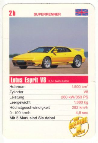 """Autoquartett-Karte der Deutschen Fernsehlotterie """"Die goldene Eins"""" mit einem Lotus Esprit V8"""