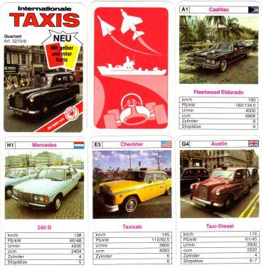 Dieses ASS-Autoquartett mit gelber und roter Karte behandelt Internationale Taxis wie London-Taxi, Checker Taxi, Mercedes Diesel und viele andere.