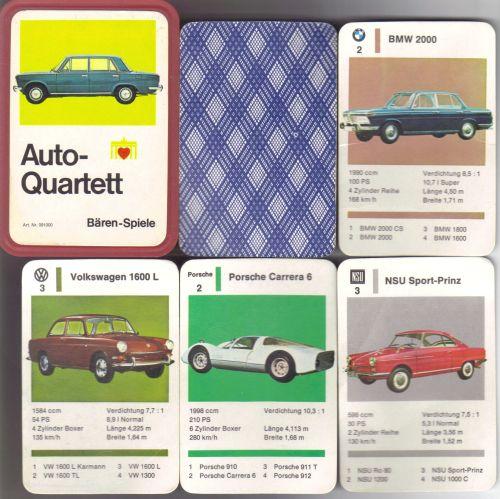 Das Auto-Quartett von Bären-Spiele mit dem Fiat 125 auf der roten Box entspricht dem Autoquartett von Berliner Spielkarten mit dem NSU Ro 80.