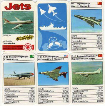 Jets heißt das ASS-Flugzeugquartett mit Blitztrumpf und Berufstipp, das  etwa Boeing 747 und den ersten Airbus A 300 enthält.