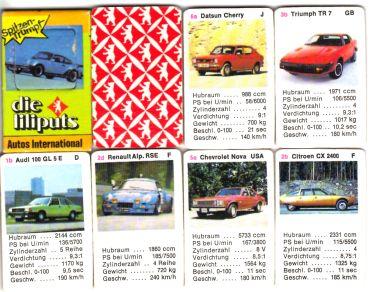 Die liliputs Miniquartette von Berliner Spielkarten sind winzig kleine Autoquartette mit Quizrahmen und 24 Karten wie etwa Porsche Turbo, Audi 100 GL5E, Citroen CX und Chevrolet Nova.