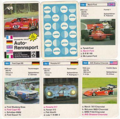 Diese rare Sammlervariante des Autoquartetts Auto-Rennsport von 1972 zeigt den Ferrari 312 B, Jackie Stewarts Tyrrell, den Porsche 917 und den Ford Capri RS sowie Formel Super V.