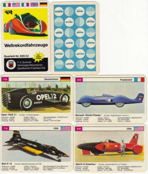 Im Rennautoquartett Weltrekordfahrzeuge von FX Schmid Nr. 58622 sind Autos wie Green Monster, Opel RAK 2 und Spirit of America und andere Salzsee-Renner enthalten.