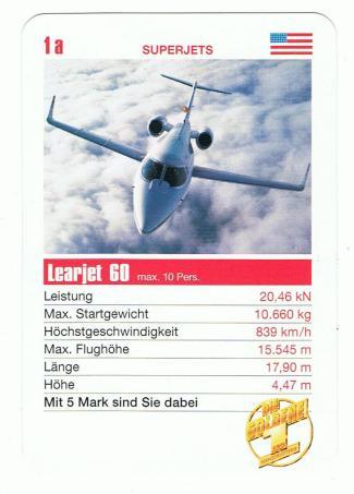 Werbequartett der Fernsehlotterie von 1998 mit dem Learjet als Einzelkarte