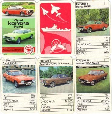 Dieses Autoquartett der beliebten ASS-Kontra-Serie vergleicht Opel Kadett, Manta, Ascona, Rekord und Commodore mit Ford Escort, Capri, Taunus und Granada.