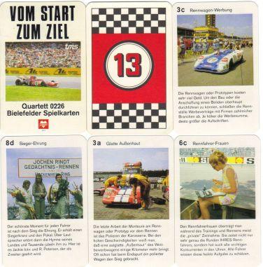 Das Quartett 0226 von Bielefelder Spielkarten zeigt Fahrerlager, Boxen, Training, Rennfahrerfrauen und Zeitnahme am Hockenheim-Ring 1971 und 1972.