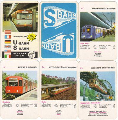 Dieses alte Quartettkartenspiel von Piatnik Wien zeigt U-Bahnen und S-Bahnen, etwa die Metro Paris, die Londoner Subway, New Yorker U-Bahn sowie auch Wuppertaler Schwebebahn.