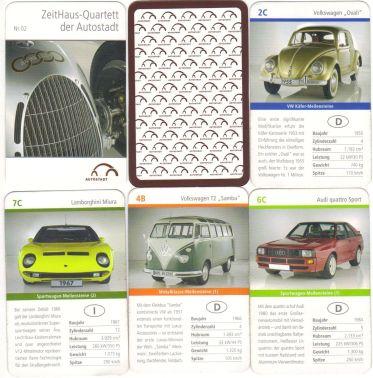 Die Wolfsburger Autostadt von Volkswagen hat dieses Zeithaus-Quartett mit  VW Bulli Samba, Lamborghini Miura und Audi Quattro Sport 2006 veröffentlicht.