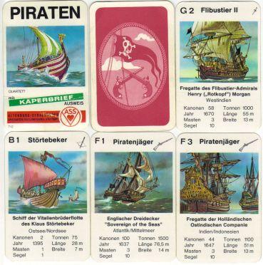 Das Piraten-Quartett von ASS 712 oder 3212 ist ein altes Schiffsquartett mit Kaperbrief, Wikingerschiff, Drachenboot, Freibeuter, Störtebecker, Bukanier, Vitalienbrüderschiff und Flibustier.