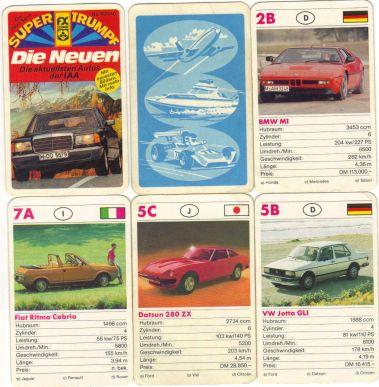 Dieses alte Autoquartett enthält DIE NEUEN von der IAA mit Mercedes 280 S, BMW M1, Fiat Ritmo Coupe, Datsun 280 Z, Jetta und anderen.