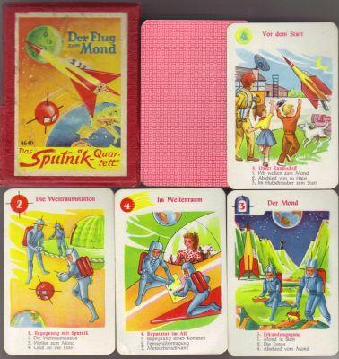 Das Sputnik-Quartett oder auch Der Flug zum Mond (Nr. 8640) heißt das schöne alte Raumfahrt-Quartett für Kinder von Schwager Steinlein