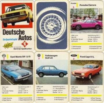 Das Siebziger-Jahre Autoquartett von Berliner Spielkarten mit der Nr. 6316787 enthält 28 Deutsche Autos, etwa VW Scirocco, Opel Manta B, Ford Capri II und den Spitzentrumpf Porsche 917-10.